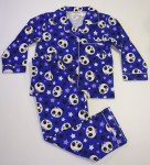 Girls Flannel Pyjamas Purple Panda